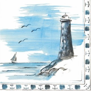 Airlaid napkins, 40x40 cm, Lighthouse, 16x50 pcs./carton