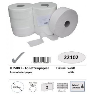Jumbo-toilet paper, 2-ply, cellulose, ca. 300 m, 6 rolls/pack