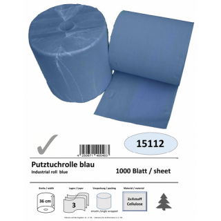 Industrial roll, 3-ply, 36 cm x 1000 sheets, blue, cellulose, glued, 1 roll/pack