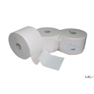 Industrial roll, 2-ply, 26 cm x 1000 sheets, white, cellulose, glued, 2 rolls/pack