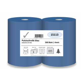 Industrial roll, 3-ply, 36 cm x 500 sheets, blue, cellulose, glued, 2 rolls/pack
